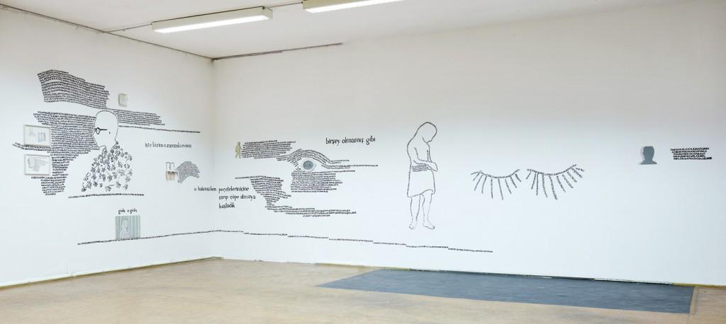 "Gökçe Süvari: ""From the Story of the Girl, Lost under the Table"", Wandmalerei und Papiercollagen, 2005-2008"